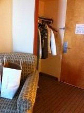 Holiday Inn Express Boston: Habitacion: en la entrada, un barral para colgar la ropa (sin placard)