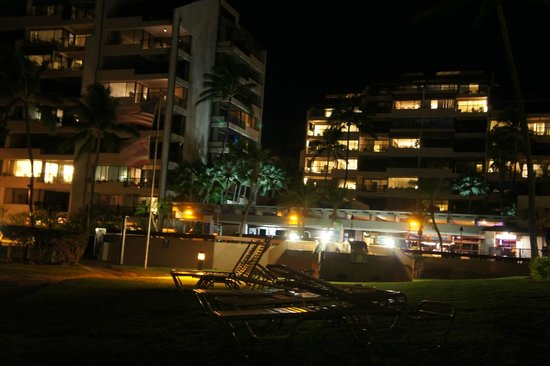Sands of Kahana: Nighttime view of the property from the beach