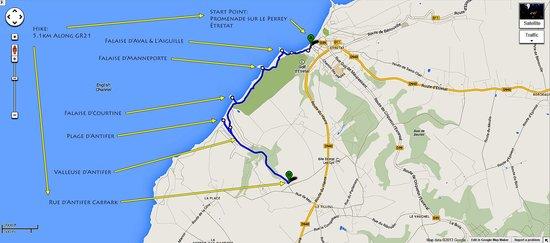 Falaise d'Etretat : Hiking Route from Etretat to Alabaster Coast to Antifer Beach to Carpark