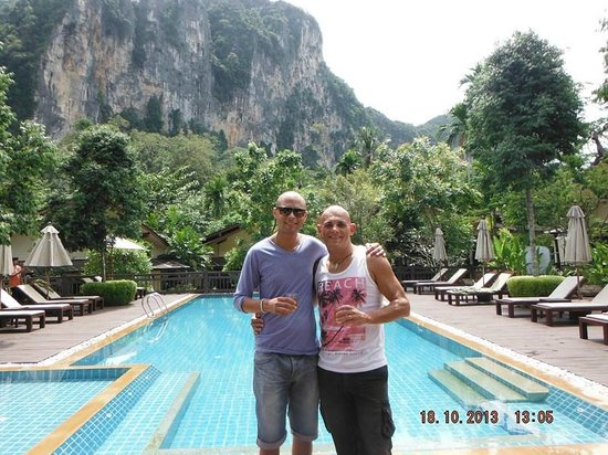 Aonang Phu Petra Resort, Krabi Thailand: at the pool during check in with our welcome drink