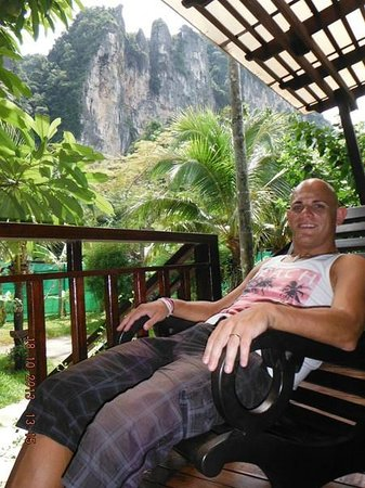 Aonang Phu Petra Resort, Krabi Thailand: On the porch of our challet