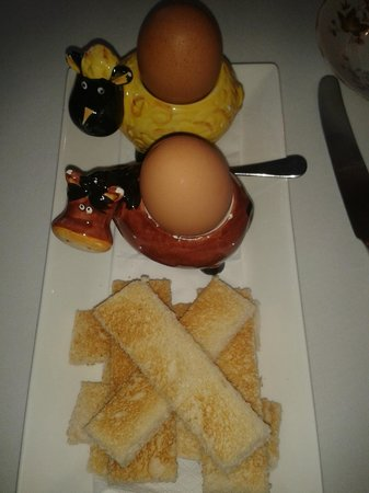 Blackaddie Country House Hotel: Even boiled eggs & toast soldiers presented with panache!