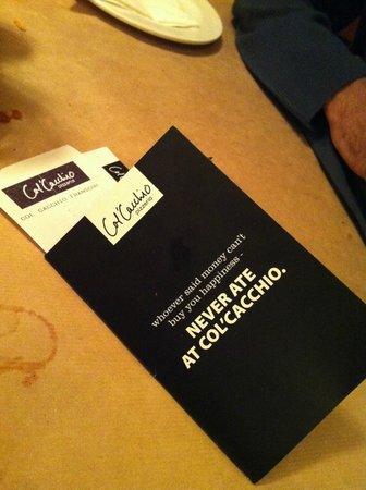 Col'Cacchio: Cool Menu