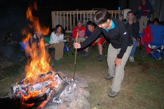 Cabins At Crabtree Falls: Making potatoes and chicken at the bonfire