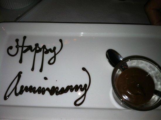 Mix - Las Vegas: Surprise anniversary dessert compliments of the house.