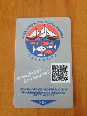 Apartamentos Playa Moreia: The keycard used for room entry/electricity turn on/car park/safe/paying for drinks