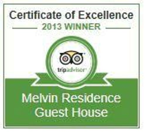 Melvin Residence Guest House: Certificate od excellence 2013