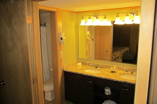 Wilson Lodge at Oglebay Resort & Conference Center : Shower, Toilet and Dopuble Sinks