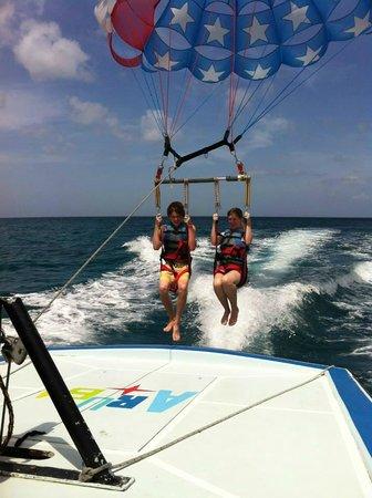 Pelican Adventures: the kids parasailing