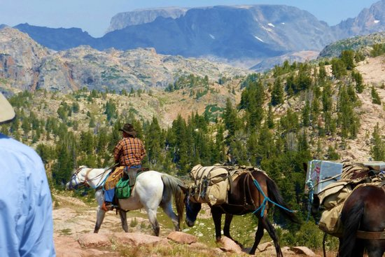 Skyline Guest Ranch and Guide Service : Views of the Beartooth Mountains while horseback riding with Vic Jackson