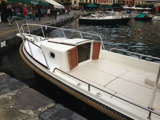 Portofino Taxi Boat: Front part of Boat - has inside section if it does start to rain