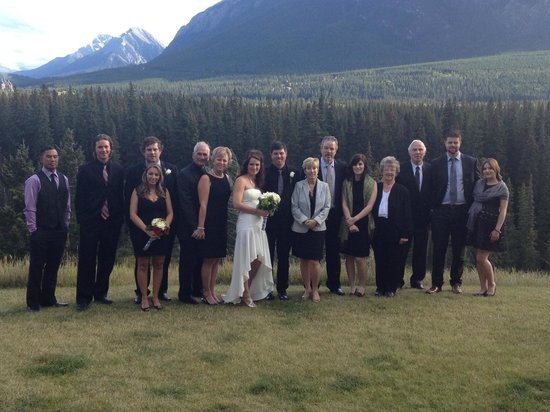 The Juniper Hotel: Family photo on the back hill area overlooking downtown Banff.