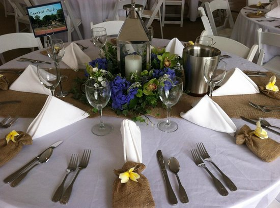 The Victoria Inn: A lovely table setting for a wedding by the sea!