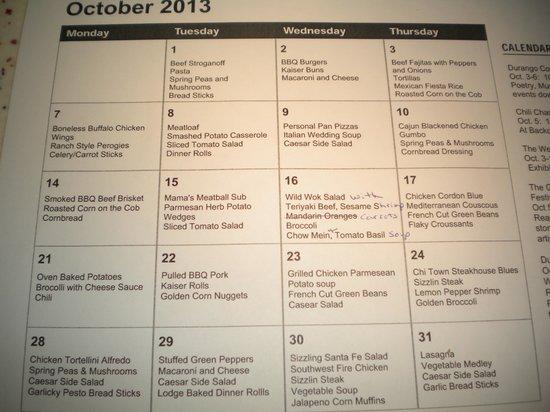 Homewood Suites by Hilton Durango: Dinner Menu Oct. 2013