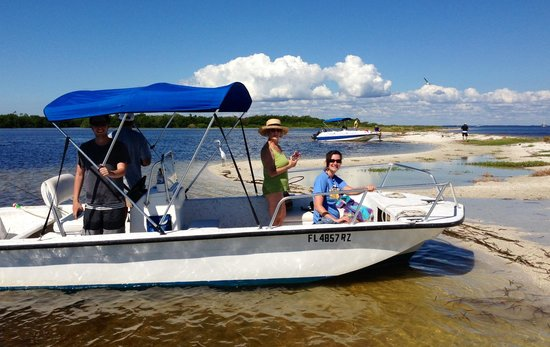 Jensen's Marina Boat Rentals: Our rental boat at Cayo Costa State Park