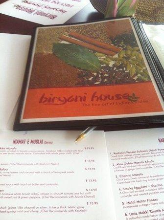Biryani House Indian Cuisine: great menu
