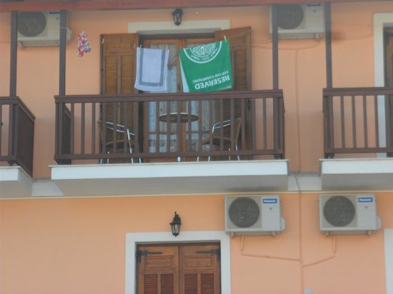 Lazaros Hotel Apartments: Our balcony with a pool view