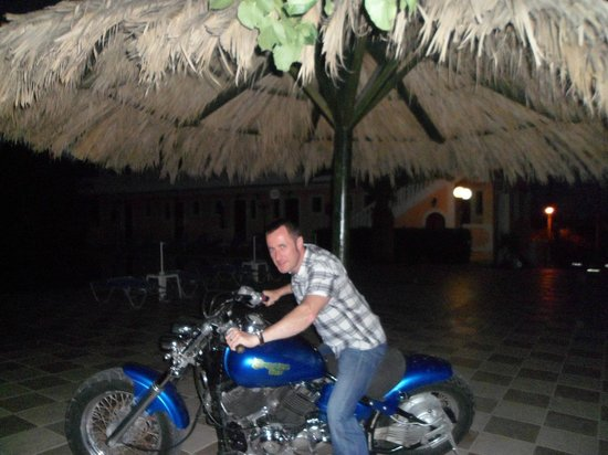 Lazaros Hotel Apartments: Myself on Breeze Bar's motorbike, Easy Rider!