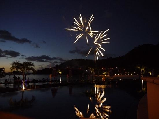 Buccament Bay Resort: wedding fireworks at sunset
