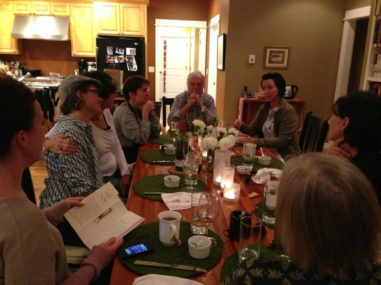The Inn At Crippen Creek Farm : Eating our delicious dishes at the table with good friends old and new