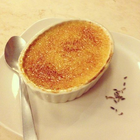 French Broad Chocolate Lounge: Lavender Creme Brûlée yummy