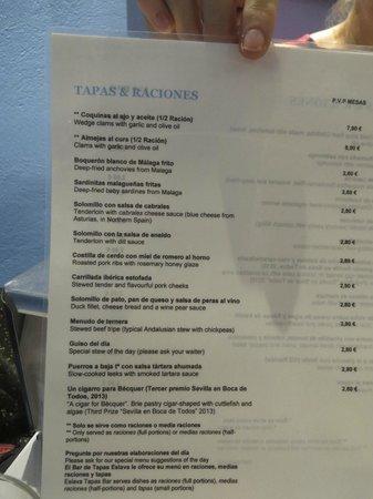 Los Coloniales : Part of the menu