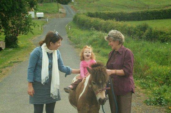 Waitomo Big Bird & Miniature Animal Petting Farm: Riding with Ann.