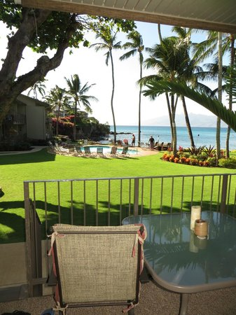 Honokeana Cove Condominiums : View from Lanai/Patio - magnificent view of ocean, beautiful grounds & pool