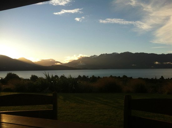 Loch Vista Lakeview Accommodation: the view from the kitchen at sunset (taken on iPhone)