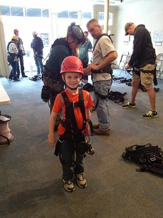Hidden River Cave and American Cave Museum: My 8 yr old son right before his first zip line experience at Hidden Cave...he loved it!!
