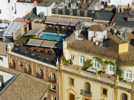 Hotel Dona Maria: vue de la piscine depuis la Giralda