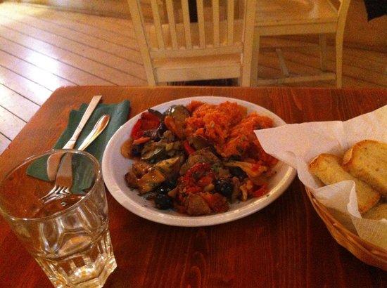 BVeg : Seitan all'isolana, verdure miste al forno e pappa al pomodoro. Gnam!