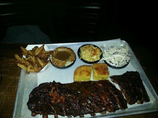 Dinosaur Bar-B-Que : Full Rack of Ribs with Fries, Mashed Potatoes, Mac&Cheese, and Slaw