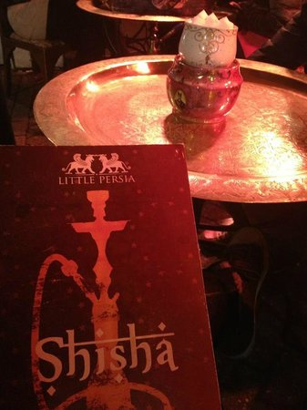 shisha menu at little persia