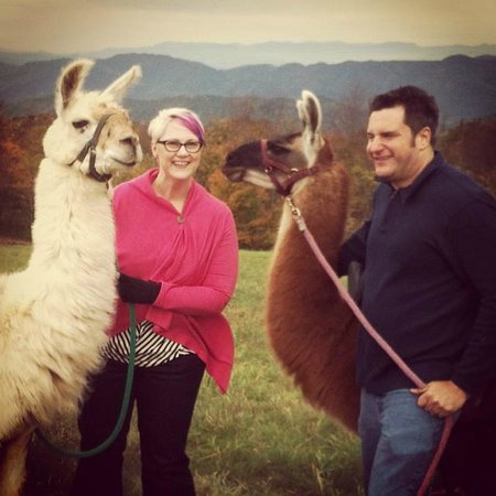 Smoky Mountain Llama Treks - Day Tours : My husband and I with Woody and JJ Bird at the lunch spot