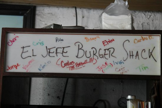 El Jefe Burger Shack: Above the fridge