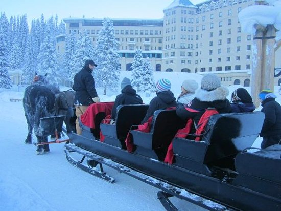 Fairmont Chateau Lake Louise: Sled rides available at the hotel