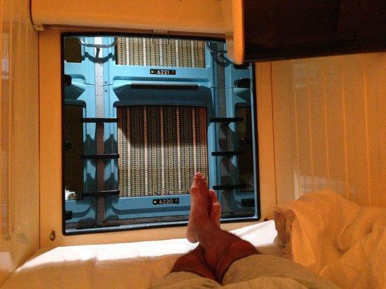Shinjuku Kuyakushomae Capsule Hotel: Inside looking out