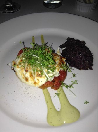 Restaurant Holder: Warm goat cheese on a thin flaky crust, basil emulsion and olive tapenade