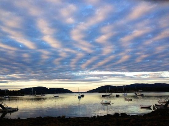 The Moorings Inn Waterfront: Evening sky over Somes Sound & Acadia Mountains