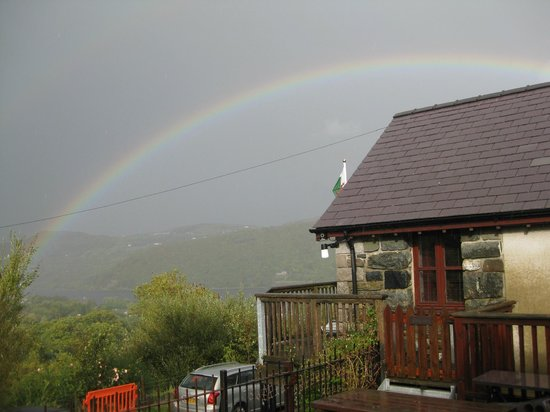 Rainbow from the Penceunant Isaf Tea Rooms.
