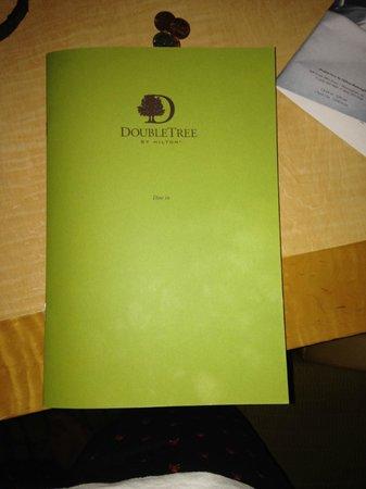 Doubletree Hotel Birmingham: Room Service Menu