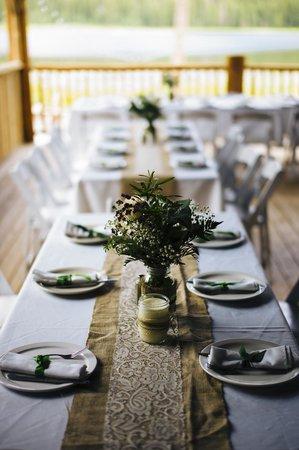 Piney River Ranch: Large Pavilion Table Set-Up