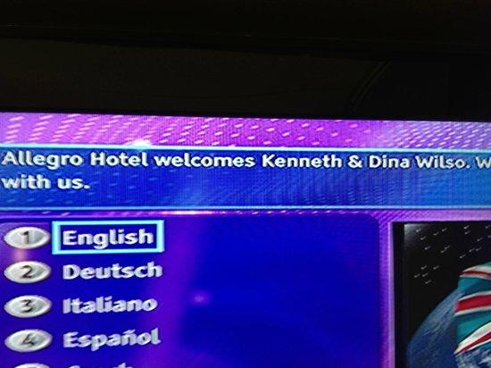 Hotel Allegro Bern : Personalized Greeting