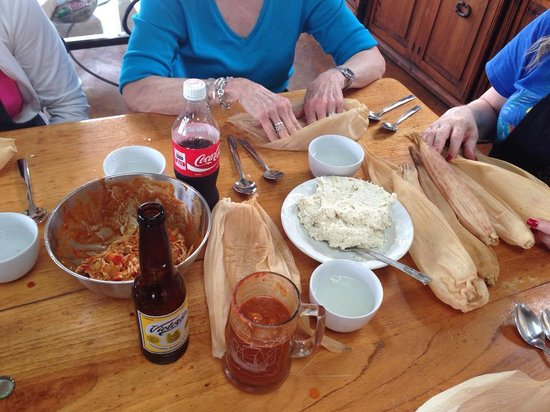 La Villa Bonita Culinary Vacation: Tamale making with the beer supervising our efforts
