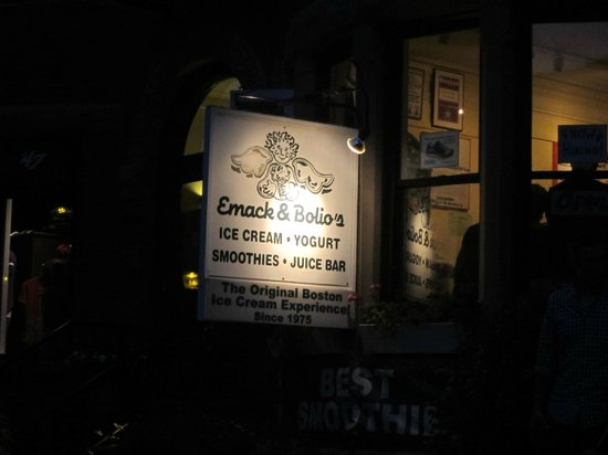 Emack and Bolio's: Sign out front
