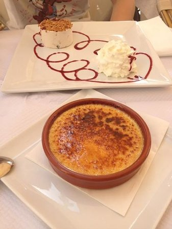 La Cambuse: creme brulee, nougat icecream in background