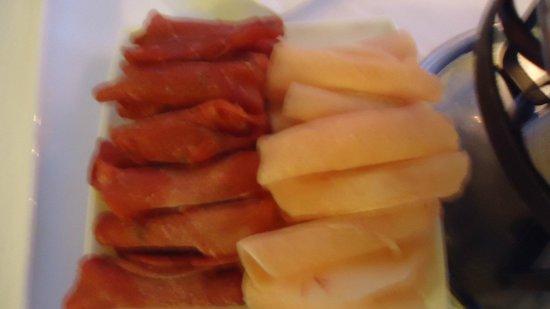 Restaurant The Verandah: carnes do fondue chinoise