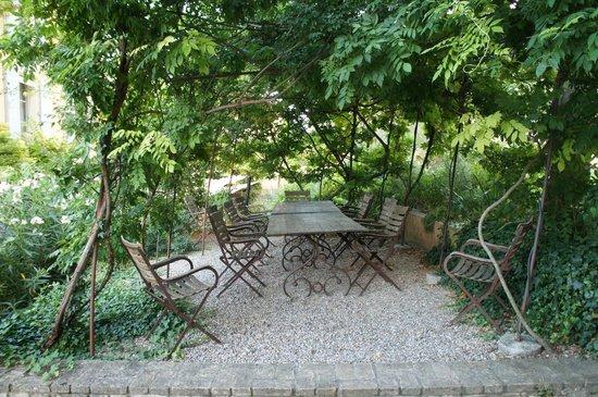 La Pauline: Grape vines covering a dining area