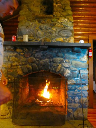 The Birches Resort: fireplace in cabin